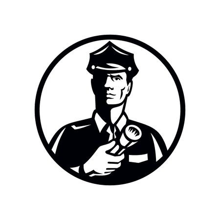 Illustration of a security guard, law enforcement officer, police officer or policeman holding a flashlight torch set inside circle on isolated background done in retro Black and White style.