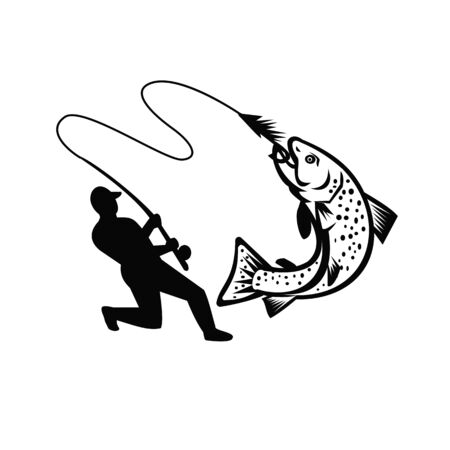 Illustration of a fly fisherman fishing casting rod and reel hooking brook trout viewed from the side on isolated white background done in retro Black and White style.