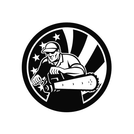 Black and White retro style illustration of an American lumberjack arborist or tree surgeon holding a chainsaw with USA star spangled banner or stars and stripes flag set inside circle isolated.