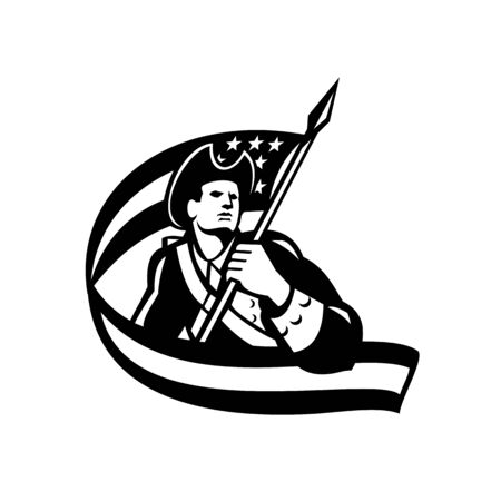 Black and White illustration of an American Patriot revolutionary soldier waving USA stars and stripes flag looking to side on Independence Day done in retro style Illustration