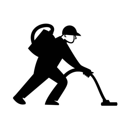 Illustration of a male worker Industrial cleaner janitor cleaning floor with vacuum cleaner viewed from side on isolated background done in retro Black and White style.