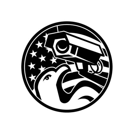 Black and White Illustration of an American bald eagle with surveillance security camera with USA star spangled banner or stars and stripes flag set inside circle done in retro style.