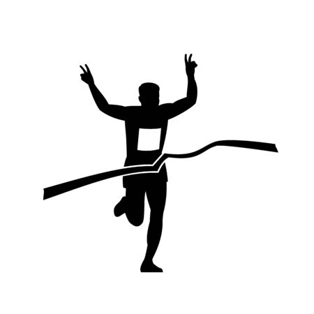 Retro style illustration of a silhouette of victorious marathon runner flashing victory hand sign while finishing at finish line ribbon tape in black and white.