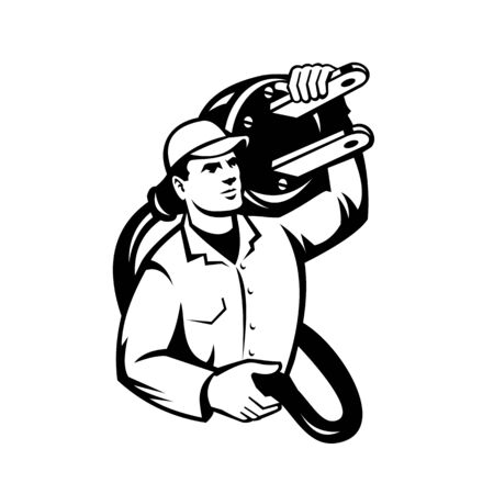 Black and White Illustration of an electrician, power lineman or construction worker carrying an electric plug viewed from front done in retro style on isolated white background.
