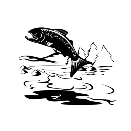 Retro woodcut style illustration of a Spotted or speckled trout Fish Jumping up river with mountains in background on isolated background done in black and white.