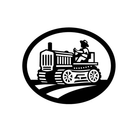 Retro illustration of an organic farmer worker driving a vintage tractor plowing farm or field viewed from side set inside oval shape done in monochrome style on isolated background.