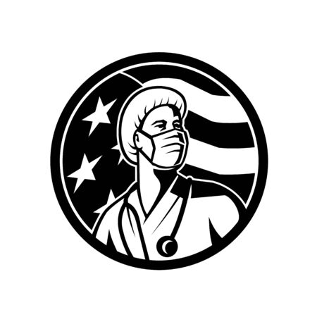 Mascot illustration of an American female nurse, healthcare professional or medical doctor, wearing  surgical mask looking up with USA stars and stripes flag done in Black and White retro style.