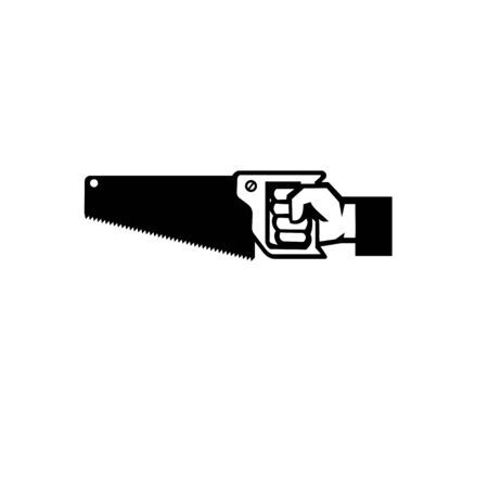 Black and White Illustration of an American carpenter, handyman or construction worker hand holding a crosscut saw viewed from side on isolated white background done in retro style. Illustration