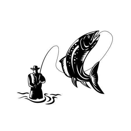 Retro woodcut style illustration of a Fly Fisherman Catching reeling a Spotted Trout Fish Jumping on isolated background done in black and white.