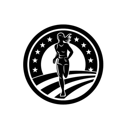 Illustration of silhouette of an American marathon runner or triathlete running winning finishing race set in circle with stars and stripes in the background done in Black and White retro style. Vectores