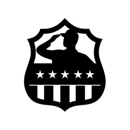 Black and White retro style illustration of silhouette of an American veteran soldier saluting USA stars and stripes, star spangled banner flag front view set inside crest shield on isolated background.