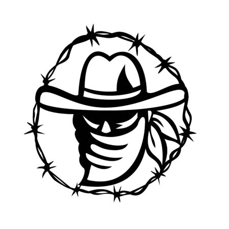 Retro style Black and White illustration of a Texan outlaw or bandit wearing face mask bandana with barbed wire ring around on isolated background.