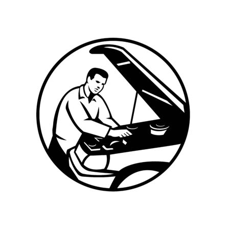 Black and White Illustration of an auto mechanic repairing automobile car vehicle set inside circle done in retro style.