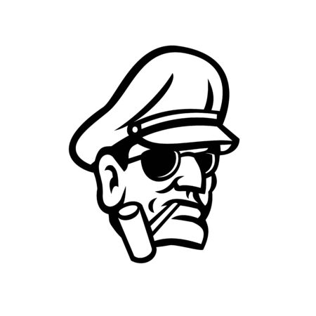 Mascot icon illustration of bust of a military army general smoking a pipe viewed from front on isolated background in retro black and white style.