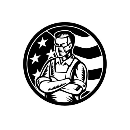 Black and white illustration of a food worker, grocery, supermarket, front line or essential worker, wearing an apron and face mask as hero with USA stars and stripes flag done in retro woodcut style.