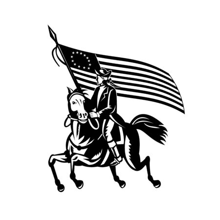 Black and white illustration of an American patriot revolutionary general soldier on horseback carrying Betsy Ross flag looking to side on independence day done in retro woodcut style.