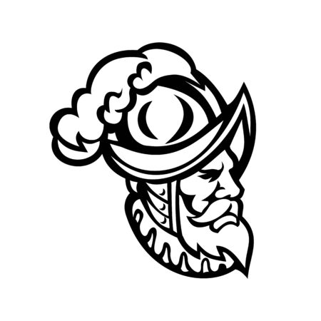 Mascot icon illustration of head of a Spanish Conquistador wearing a morion, type of open helmet hat used from the middle 16th to early 17th centuries, side view in retro black and white style. Çizim