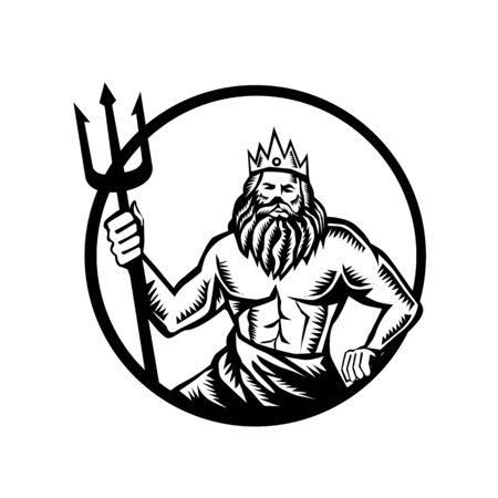 Ilustración de neptuno o poseidón dios del mar sosteniendo tridente visto desde la parte delantera dentro del círculo sobre fondo aislado realizado en estilo retro grabado en madera en blanco y negro.