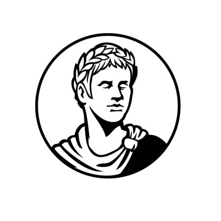 Mascot black and white illustration of bust of an ancient Roman emperor, senator or Caesar, ruler of Roman Empire during the imperial period wearing crown of laurel leaves looking side in retro style.