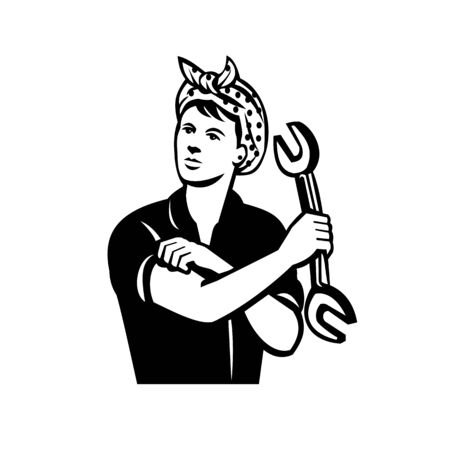 Illustration of a female mechanic holding a spanner wrench flexing her arm muscle viewed from front done in retro black and white style.