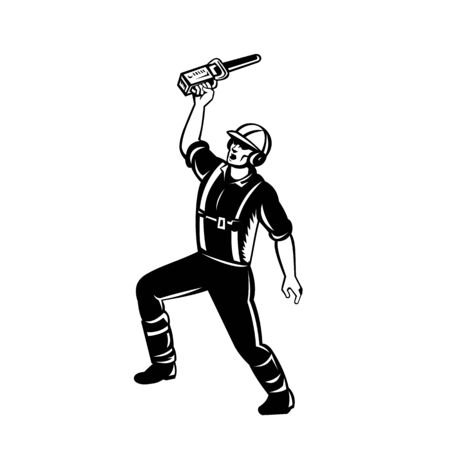Retro woodcut style illustration of an arborist, lumberjack or tree surgeon raising up chainsaw and shouting on isolated background in black and white. Illustration