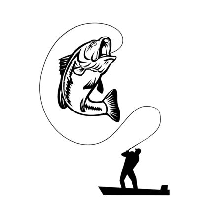 Illustration of a fisherman bass fishing catching a largemouth, largies, northern largemouth, widemouth, bucketmouth or Florida bass, jumping up on isolated background in retro black and white style. Vettoriali