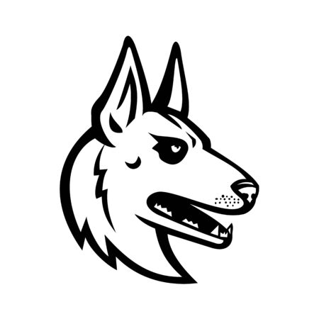 Mascot black and white illustration of head of Belgian Malinois, Belgian Shepherd dog, Berger Belge Malinois, Mechelse Herder or Mechelaar Mechelse Schepera viewed from side in retro style.