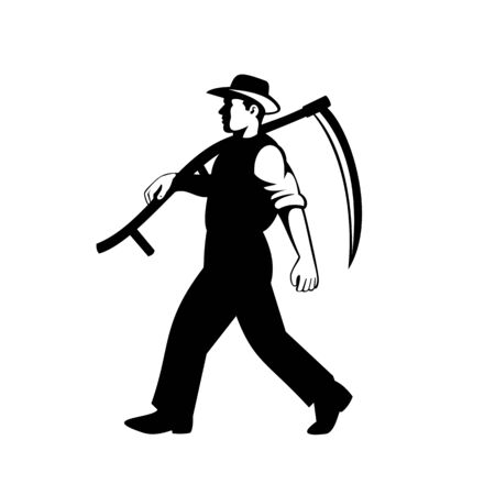 Illustration of an organic farmer, horticulturist, agriculturist or gardener with scythe walking viewed from side done in retro black and white style on isolated background.