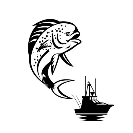 Retro style illustration of a pompano dolphinfish (Coryphaena equiselis), a surface-dwelling ray-finned fish, jumping up with fishing boat, seacraft or vessel in background done in black and white.