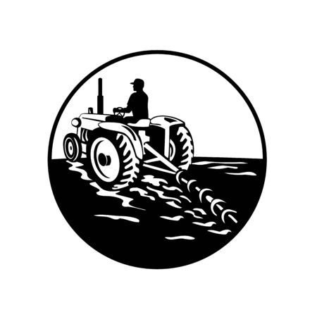 Illustration of a farmer gardener driving a vintage tractor plowing mowing viewed from rear set inside circle on isolated background done in retro black and white style.