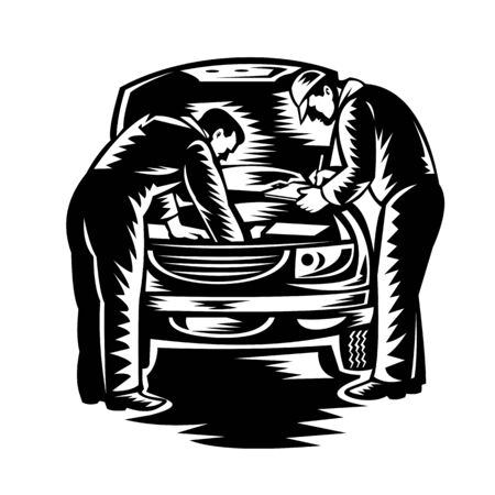 Retro woodcut style illustration of two automotive mechanic doing vehicle car service and repair viewed from front on isolated background done in black and white.