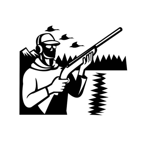 Black and white illustration of a bird hunter duck shooter hunting with shotgun rifle with geese flying and mountains done in retro style on isolated background.