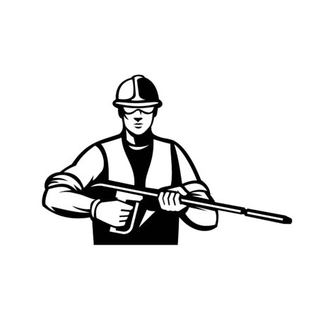 Illustration of a power washer holding with water blaster or pressure washing wand viewed from facing front done in retro black and white style.