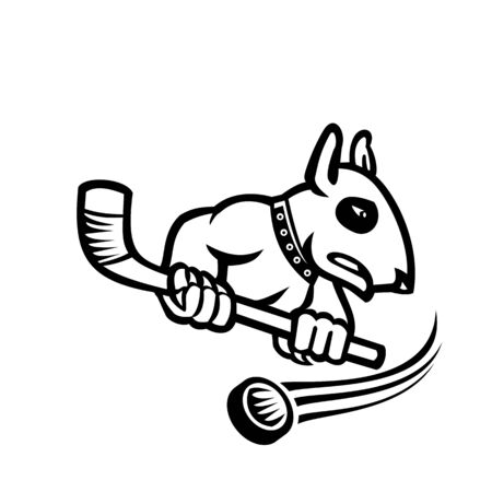 Sports mascot black and white illustration of a bull terrier or wedge head holding an ice hockey stick with puck at back viewed from side on isolated background in retro style.