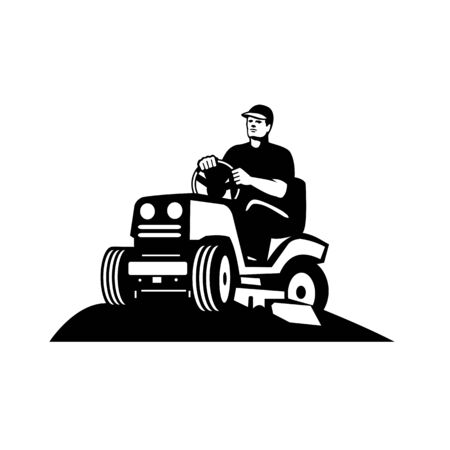 Illustration of retro style male gardener, landscaper, groundsman or groundskeeper riding ride-on lawn mower mowing greens viewed from low angle done in retro black and white style.