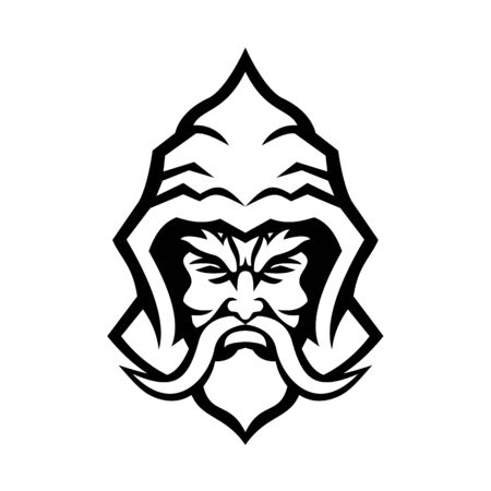Mascot icon illustration of head of a Wizard, sorcerer or warlock, a practitioner of magic derived from supernatural, occult, or arcane sources viewed from  front done in retro black and white style.  イラスト・ベクター素材