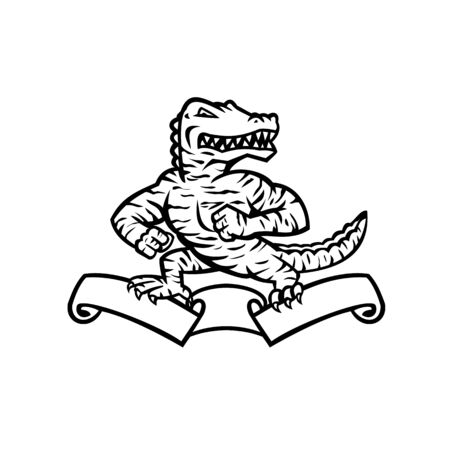 Mascot illustration of a ferocious reptilian alligator, gator or crocodile in tiger stripes standing in fighting stance on top of ribbon or scroll on isolated background in retro black and white style. Illustration