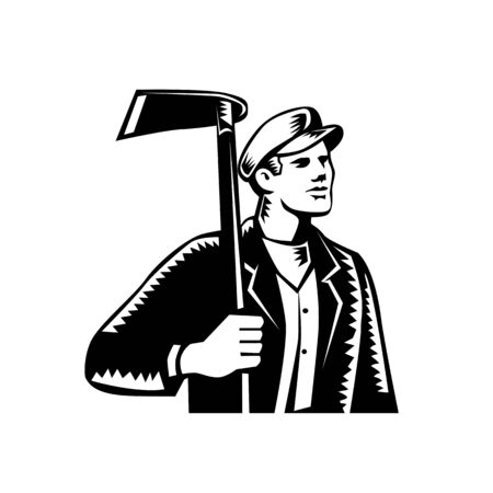 Illustration of male farmer, gardener, landscaper or horticulturist holding grub hoe looking to the side set on isolated background done in retro woodcut black and white style. Illustration