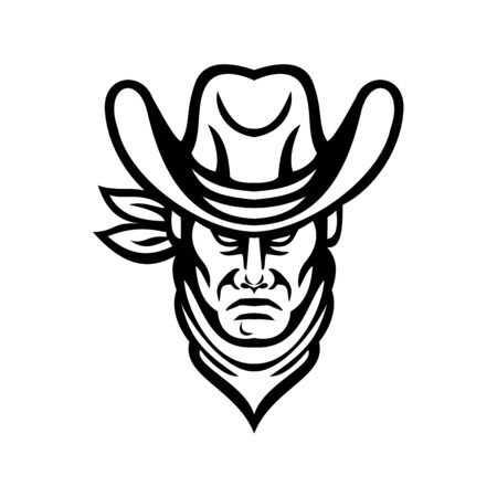 Mascot icon illustration of head of an American cowboy wearing kerchief and hat viewed from front on isolated background in retro black and white style. Çizim