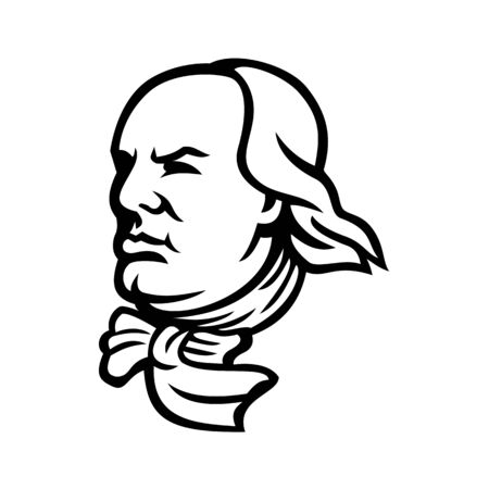 Mascot icon illustration of head of an American polymath and Founding Father of the United States, Benjamin Franklin looking forward viewed from side on isolated background in retro black and white style.