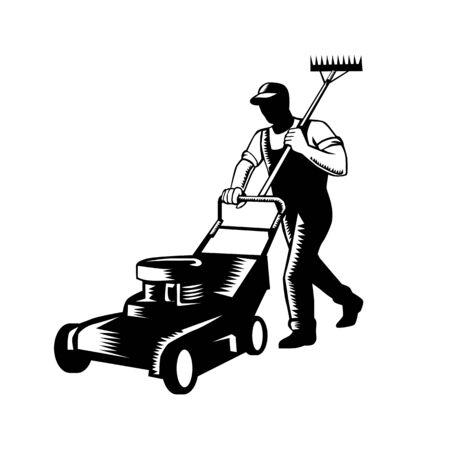 Woodcut black and white style illustration of male gardener, landscaper, groundsman or groundskeeper pushing lawn mower mowing and holding rake on shoulder on isolated white background.