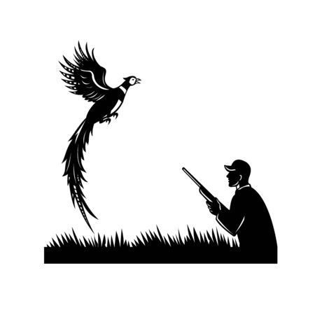 Black and white illustration of a silhouette of a wild game bird hunter with shotgun rifle and pheasant bird flying up viewed from side on isolated white background done in retro style.