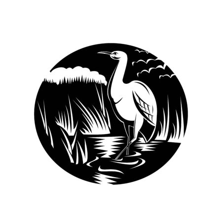Retro style illustration of an egret, bittern or heron, a long-legged freshwater and coastal bird in the family Ardeidae viewed from side set in circle on isolated background done in black and white.