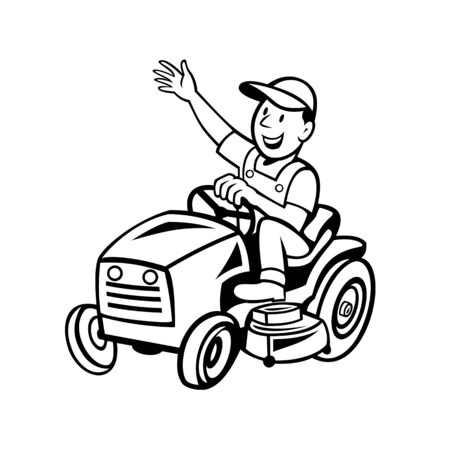 Cartoon style illustration of farmer or gardener riding ride-on mower mowing waving hand viewed from side on isolated background done in black and white.