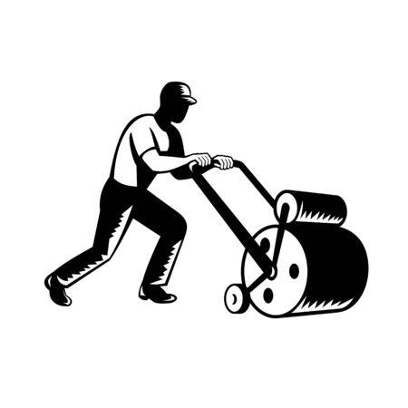 Retro woodcut black and white style illustration of a gardener, landscaper, groundsman or groundskeeper pushing lawn roller on isolated background.