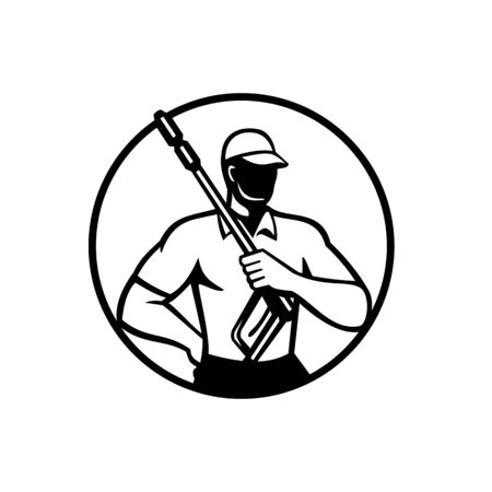 Illustration of a male power washer with pressure washing wand or water blaster viewed from front set inside circle on isolated background done in retro black and white style.