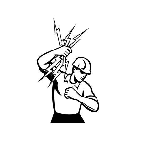 Illustration of an electrician construction worker holding a bunch of lightning bolt done in retro black and white style on isolated white background.