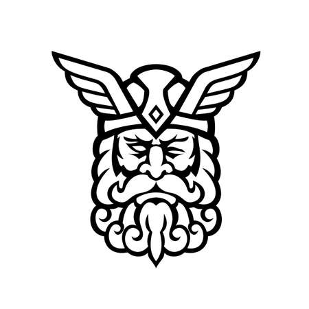 Mascot illustration of head of Odin, also called Wodan, Woden, or Wotan, one of the principal gods in Norse mythology viewed from front on isolated background in retro Black and white style.
