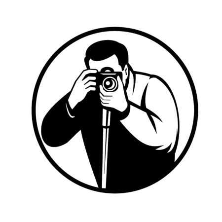 Black and white retro style illustration of a photographer shooting with digital slr camera viewed from front set inside circle on isolated background. Illusztráció