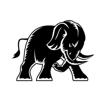 Woodcut style cartoon character mascot style illustration of an angry elephant charging and attacking viewed from side on isolated background in black and white.